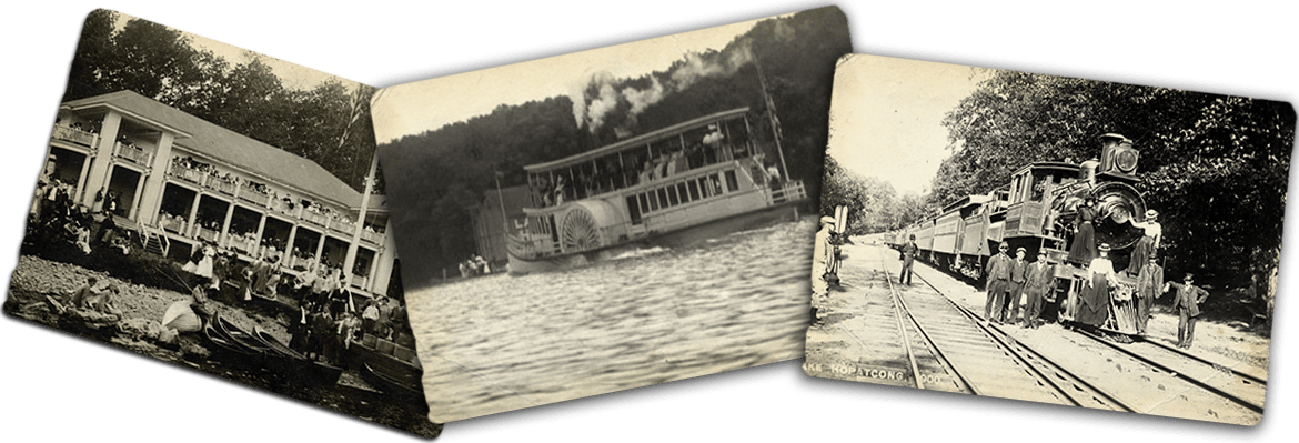 Three antique images including a train and Lake Hopatcong