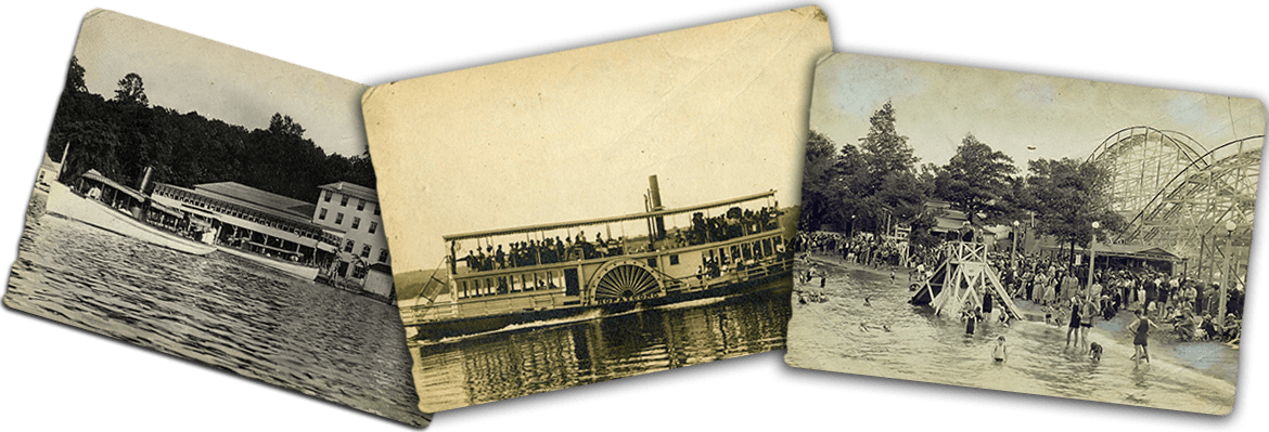 Antique images of Lake Hopatcong including Ferris Wheel and Boat