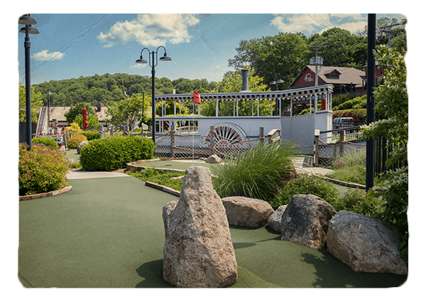 Hopatcong Steamboat replica on mini golf course